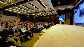 People attend business conference stock video footage
