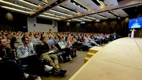 People attend business conference stock video