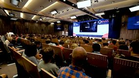 People attend business conference stock footage