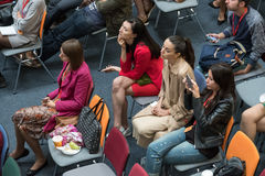 People attend Digital Marketing Conference in big hall Royalty Free Stock Photo
