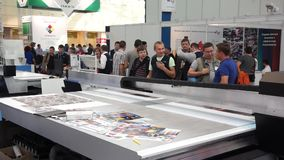 People attend international exhibition stock footage