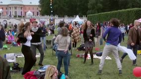 People attend open-air concert on XI International Jazz Festival Usadba Jazz stock footage