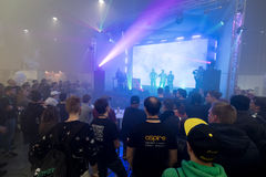 People attend rap battle at Vapexpo Moscow 2016 exhibition Royalty Free Stock Photography