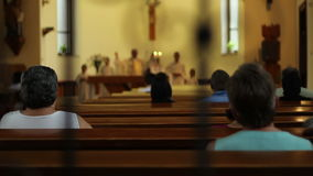 People Attend Religious Service stock footage
