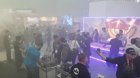 People attend Vapexpo Moscow 2016 exhibition stock video