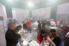 People attend Vapexpo Moscow 2016 exhibition Stock Image