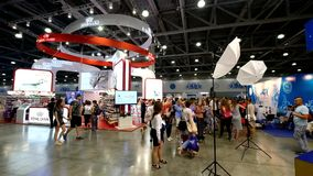 People attend World Dog Show stock footage