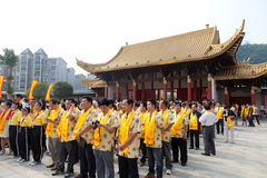 People attended ceremony at  Confucius temple Stock Images