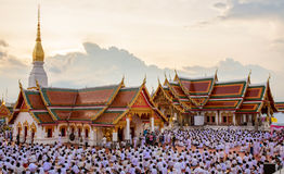 People Attended prayer Asalha Puja Bucha day at Wat That Choeng Stock Images