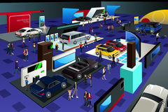 People Attending an Auto Show Royalty Free Stock Photo