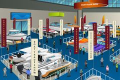 People Attending Boat Show Illustration Royalty Free Stock Photo