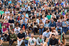 People from the audience watch a concert at Heineken Primavera Sound 2014 Royalty Free Stock Images