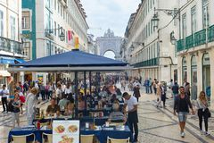 People Augusta street Lisbon Portugal royalty free stock photos