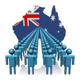 People with Australia map flag stock illustration