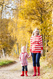 People in autumnal alley. Mother with her daughter in autumnal alley Royalty Free Stock Photos