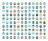 People Avatar Collection. Flat Circle Icons Of People, Occupations, Works. People Portraits, Cartoon People, People Lifestyles. Stock Image