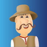 People avatar cossack with forelock, mustache. Man in waistcoat, Royalty Free Stock Image