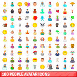 100 people avatar icons set, cartoon style Royalty Free Stock Photos