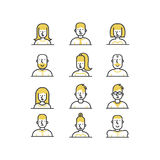 People avatar line style icons set in yellow and black colors on white background. Royalty Free Stock Photo