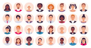 People avatar. Smiling human circle portrait, female and male person round avatars flat icon vector illustration