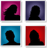 People avatars. Silhouettes of people on coloured gradient backgrounds Stock Images