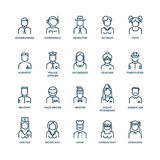People avatars, characters staff, professions. Vector linear icons. People avatars, characters staff, professions. Career people, manager profession, people Royalty Free Stock Images