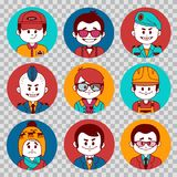 People avatars collection.Professions vector flat icons.Soldier, businessman, manager, showman, tennis player, financier. People avatars collection. Professions Stock Photo