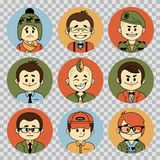 People avatars collection.Professions vector flat icons.Soldier, businessman, manager, showman, sportsman, financier. People avatars collection. Professions Royalty Free Stock Photo