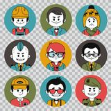 People avatars collection.Professions vector flat icons.Soldier, businessman, manager, showman, tennis player, financier. People avatars collection. Professions Stock Photos