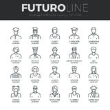 People Avatars Futuro Line Icons Set Stock Image
