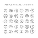 People avatars. Line icon Stock Photos