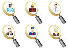 People Avatars magnifying glass icons set  Stock Photography