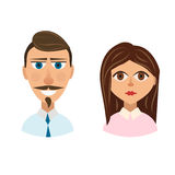 People avatars man and woman  eps 10 Royalty Free Stock Images