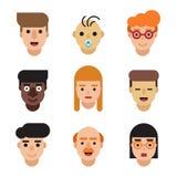 People avatars set. Modern flat character cartoon faces. Royalty Free Stock Image