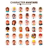 People Avatars Set Vector. Face, Emotions. Default Character Avatar Placeholder. Flat, Cartoon, Comic Art Flat Isolated. People Avatars Set Vector. Face vector illustration