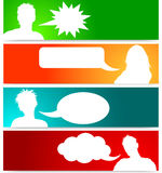People avatars with speech bubbles Stock Photos