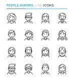 People avatars thin line icon set. Editable stroke. Vector illustration Stock Photos
