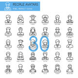 People Avatars, thin line icons set Royalty Free Stock Images
