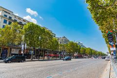 People in Avenue de Champs Elysees. Paris, France - July 06, 2018: People in Avenue de Champs Elysees royalty free stock image