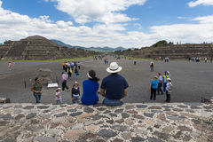 People at the Avenue of the Dead in the Teotihuacan archaeological site in Mexico. royalty free stock photo