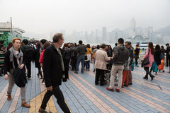 People on the Avenue of Stars in Hong Kong Royalty Free Stock Images