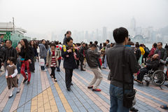 People on the Avenue of Stars in Hong Kong Royalty Free Stock Image