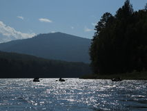 People are awesome - kayak trip down the river in wilderness Stock Photos