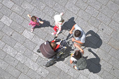 People with baby carriage Royalty Free Stock Photography