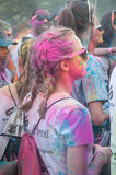 People back at Colore Mulhouse 2017. MULHOUSE - France - 4 June 2017 - Closeup of people back at Colore Mulhouse 2017 event, the annual running of five stock image