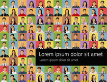 People Background. Background with a group of business and office people photos. Vector Icons Royalty Free Stock Photography