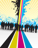 People background. People on an abstract cmyk splashed  background Royalty Free Stock Photo