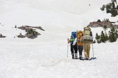 People with backpacks. Tourists climbing in snow on Mount Shasta, California Stock Images