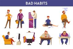 People bad habits and behavior vector icons. People and bad habits or harmful behavior. Vector man in cigarette smoking, gambling or alcoholism and drug stock illustration