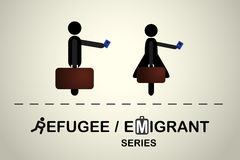 People with bag and passport. Emigrant / refugee series. Stock Photos